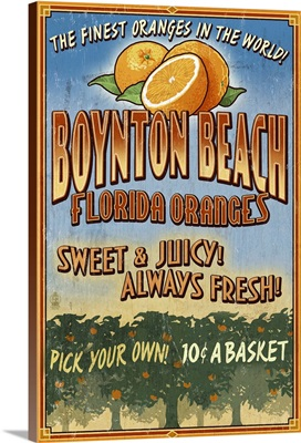 Boynton Beach, Florida - Orange Grove Vintage Sign: Retro Travel Poster