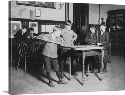 Boys Playing Pool at the United Workers Boys' Club, New Haven, CT