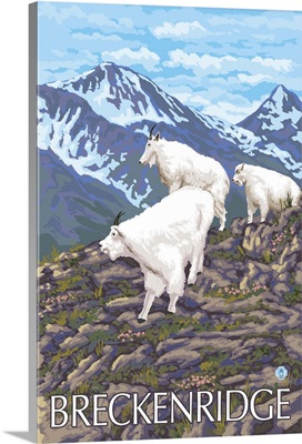 Breckenridge, CO - Goat Family: Retro Travel Poster
