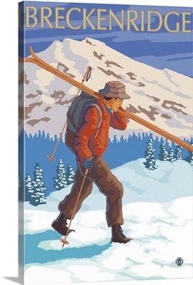 Breckenridge, CO - Skier Carrying: Retro Travel Poster