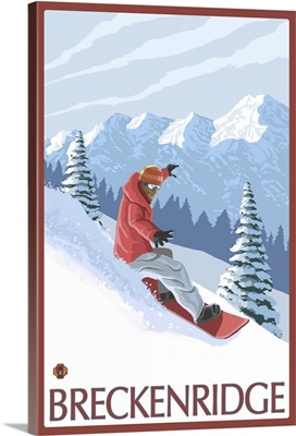 Breckenridge, CO - Snowboarder: Retro Travel Poster