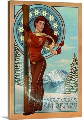 Breckenridge, Colorado - Art Nouveau Skier: Retro Travel Poster