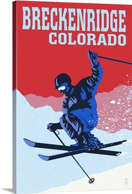 Breckenridge, Colorado - Colorblocked Skier: Retro Travel Poster