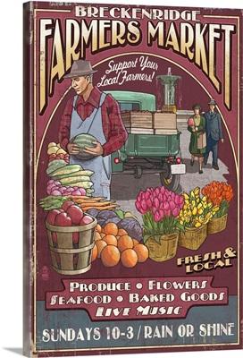 Breckenridge, Colorado - Farmers Market Vintage Sign: Retro Travel Poster