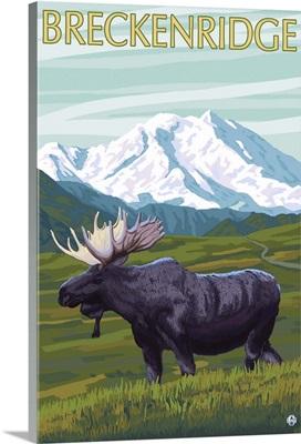 Breckenridge, Colorado - Moose and Mountain: Retro Travel Poster