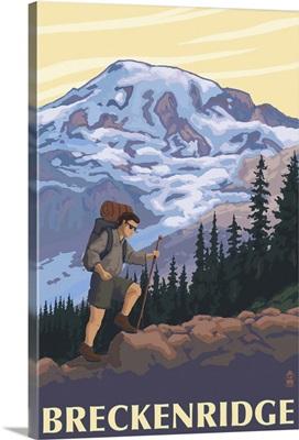 Breckenridge, Colorado - Mountain Hiker: Retro Travel Poster