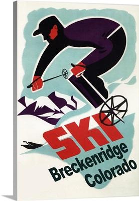 Breckenridge, Colorado - Retro Skier: Retro Travel Poster