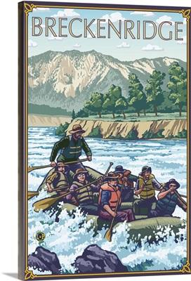 Breckenridge, Colorado - River Rafting: Retro Travel Poster