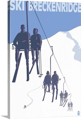 Breckenridge, Colorado Ski Lift: Retro Travel Poster