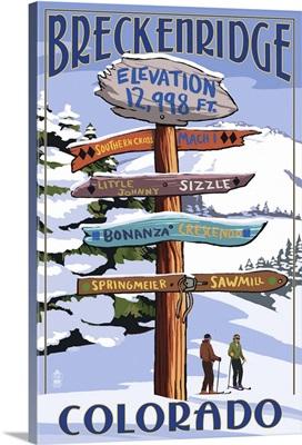 Breckenridge, Colorado - Ski Run Signpost: Retro Travel Poster
