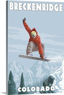 Breckenridge, Colorado - Snowboarder Jumping: Retro Travel Poster