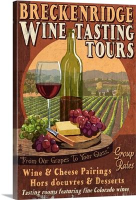 Breckenridge, Colorado - Wine Tasting Vintage Sign: Retro Travel Poster