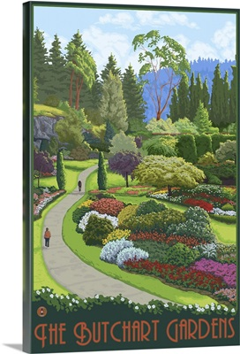 Brentwood Bay, Canada - Butchart Gardens: Retro Travel Poster