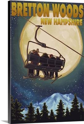 Bretton Woods, NH - Ski Lift and Full Moon: Retro Travel Poster