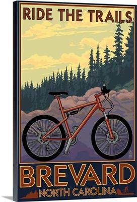Brevard, North Carolina - Ride the Trails Bicycle: Retro Travel Poster