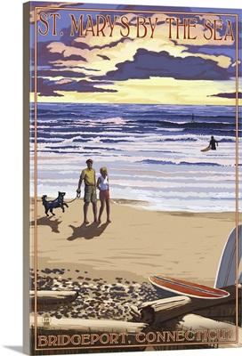 Bridgeport, Connecticut - Beach and Sunset : Retro Travel Poster
