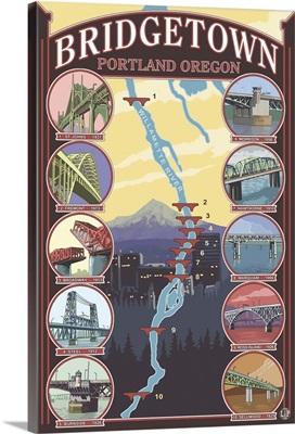 Bridges of Portland, Oregon: Retro Travel Poster