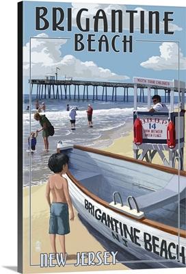 Brigantine Beach, New Jersey - Lifeguard Stand: Retro Travel Poster