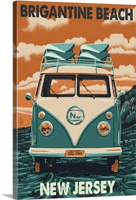 Brigantine Beach, New Jersey - VW Van Letterpress: Retro Travel Poster