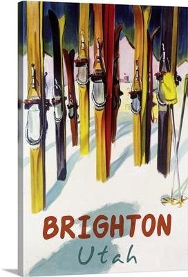 Brighton Resort, Utah - Colorful Skis: Retro Travel Poster