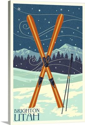 Brighton, Utah - Crossed Skis - Letterpress: Retro Travel Poster