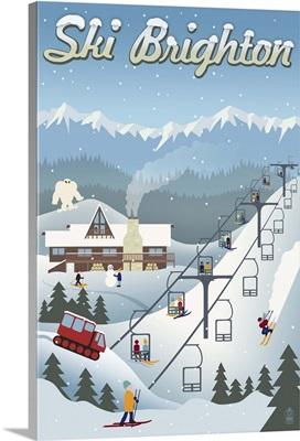 Brighton, Utah - Retro Ski Resort: Retro Travel Poster