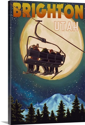 Brighton, Utah - Ski Lift and Full Moon: Retro Travel Poster