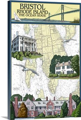Bristol, Rhode Island - Nautical Chart: Retro Travel Poster