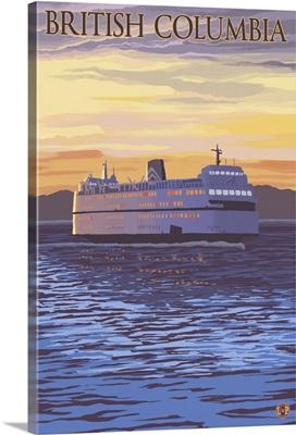 British Columbia, Canada - BC Ferries: Retro Travel Poster