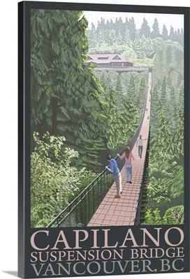 British Columbia, Canada - Capilano Suspension Bridge: Retro Travel Poster