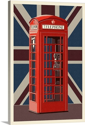 British Phone Booth - Letterpress: Retro Art Poster