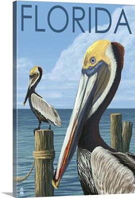 Brown Pelicans - Florida: Retro Travel Poster