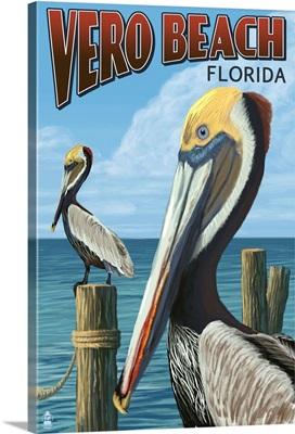 Brown Pelicans - Vero Beach, Florida: Retro Travel Poster