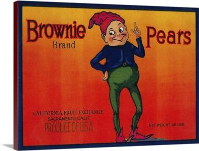 Brownie Pear Crate Label, Sacramento, CA