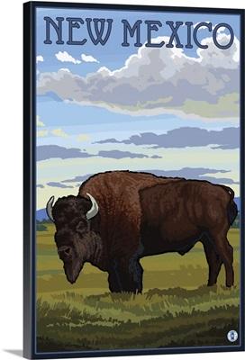 Buffalo Scene - New Mexico: Retro Travel Poster