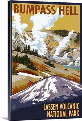 Bumpass Hell - Lassen Volcanic National Park, CA: Retro Travel Poster