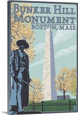 Bunker Hill - Boston, MA: Retro Travel Poster