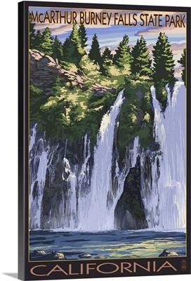 Burney Falls, California Scene: Retro Travel Poster