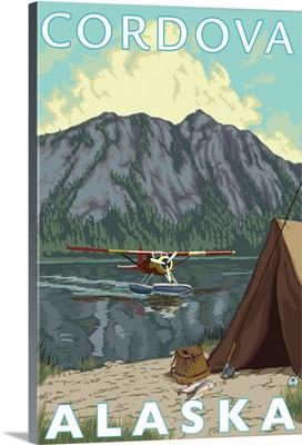 Bush Plane and Fishing - Cordova, Alaska: Retro Travel Poster