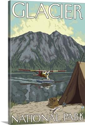 Bush Plane and Fishing - Glacier National Park, MT: Retro Travel Poster