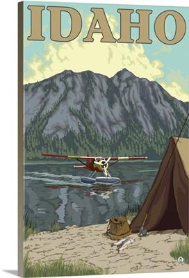 Bush Plane and Fishing - Idaho: Retro Travel Poster