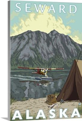 Bush Plane and Fishing - Seward, Alaska: Retro Travel Poster