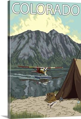 Bush Plane Fishing - Colorado: Retro Travel Poster