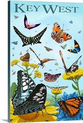 Butterfly Garden - Key West, Florida: Retro Travel Poster