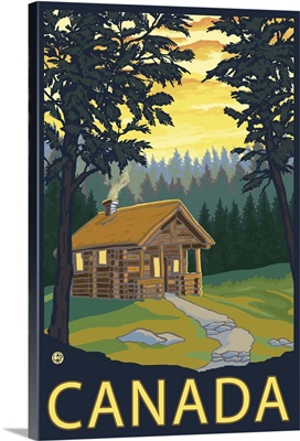 Cabin Scene - Canada: Retro Travel Poster