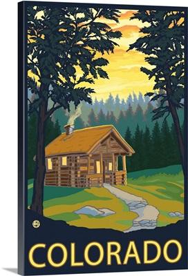 Cabin Scene - Colorado: Retro Travel Poster