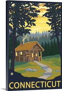 Cabin Scene - Connecticut: Retro Travel Poster