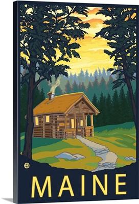 Cabin Scene - Maine: Retro Travel Poster