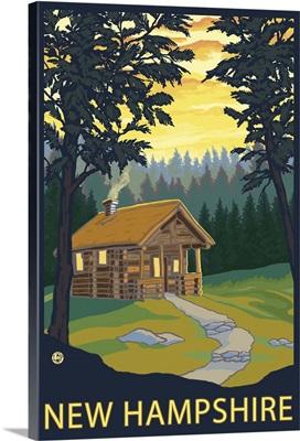 Cabin Scene - New Hampshire: Retro Travel Poster