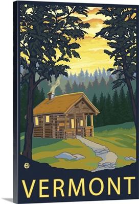 Cabin Scene - Vermont: Retro Travel Poster